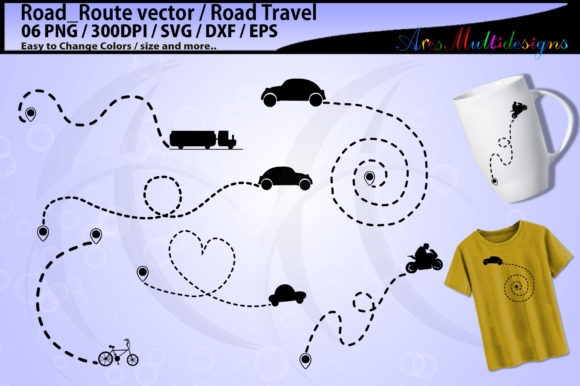 Print on Demand: Road Travel Road Trip Silhouette Graphic Illustrations By Arcs Multidesigns