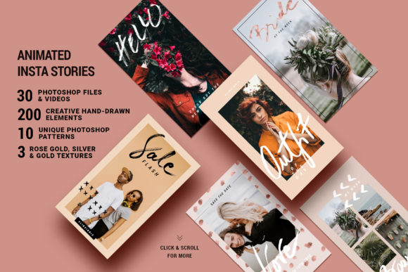 Print on Demand: Rose Gold Instagram Stories Pack Graphic Web Elements By SilverStag