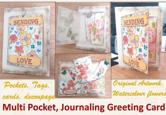 Download Free Shabby Chic Greeting Card With Pockets Graphic By for Cricut Explore, Silhouette and other cutting machines.