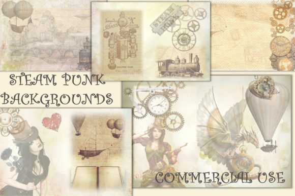 SteamPunk Collage Backgrounds Graphic Backgrounds By DigitalCraftsco