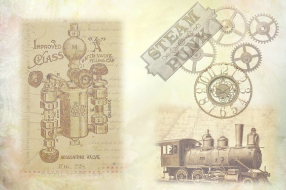 Download Free Steampunk Collage Backgrounds Graphic By Digitalcraftsco for Cricut Explore, Silhouette and other cutting machines.