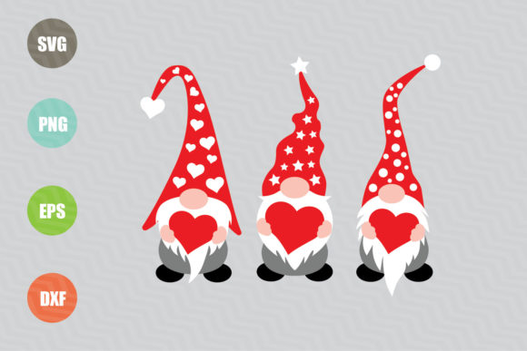 Three Gnomes Holding Hearts Graphic Illustrations By logotrain034