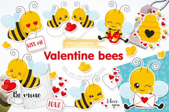 Print on Demand: Valentine Bees Graphic Illustrations By Prettygrafik
