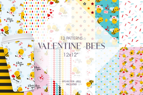 Download Free Valentine Bees Patterns Graphic By Prettygrafik Creative Fabrica for Cricut Explore, Silhouette and other cutting machines.