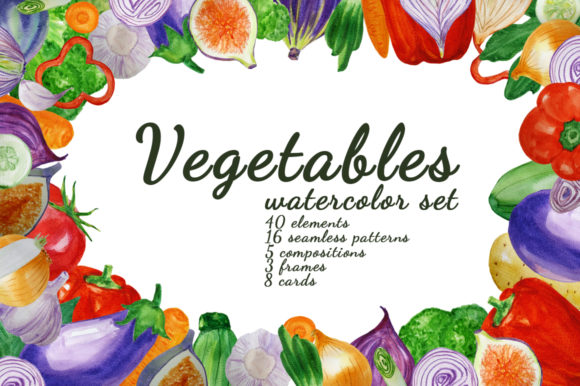 Print on Demand: Watercolor Vegetables Graphic Illustrations By s.yanyeva