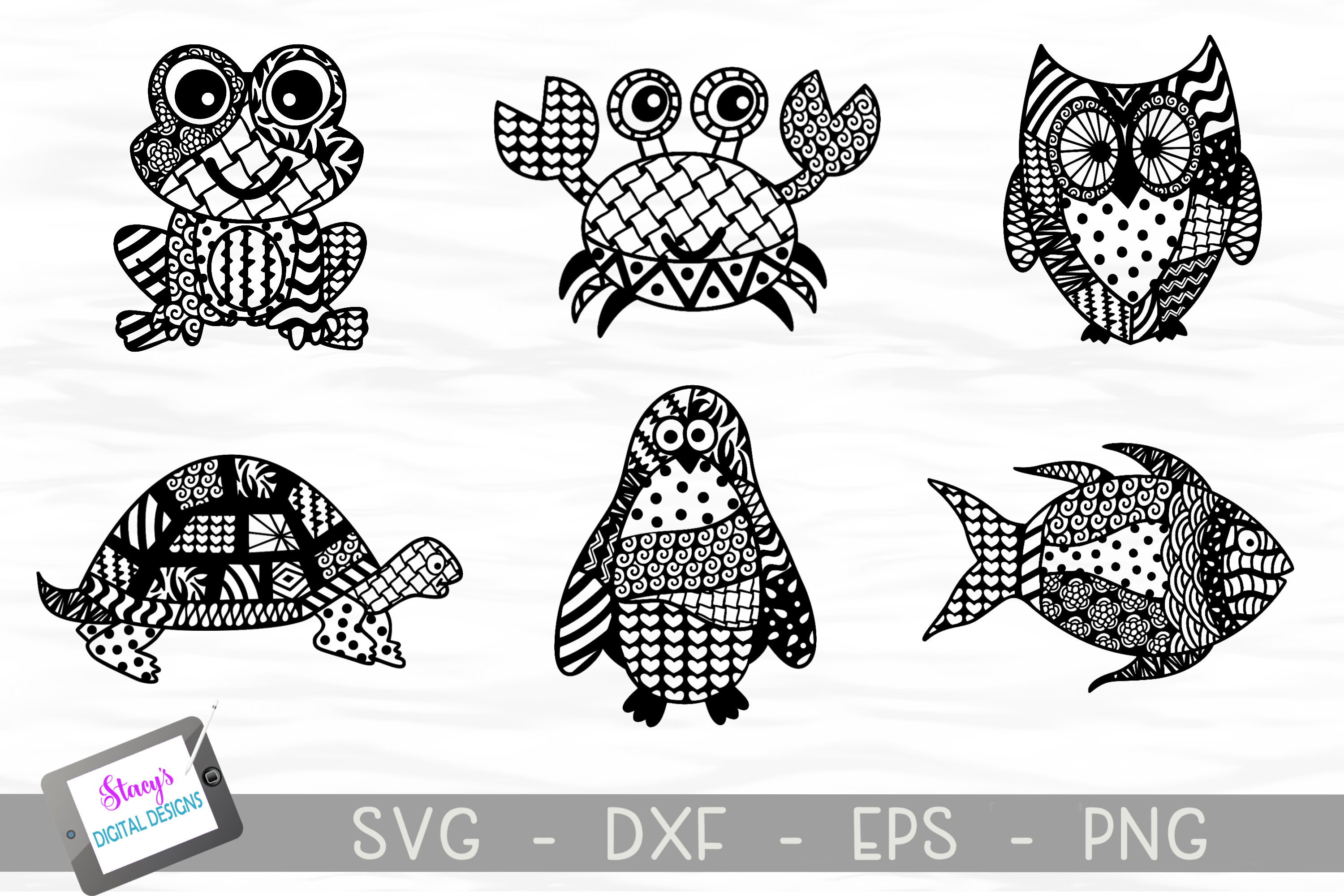 Download Free Zentangle Animal Bundle 6 Designs Graphic By for Cricut Explore, Silhouette and other cutting machines.