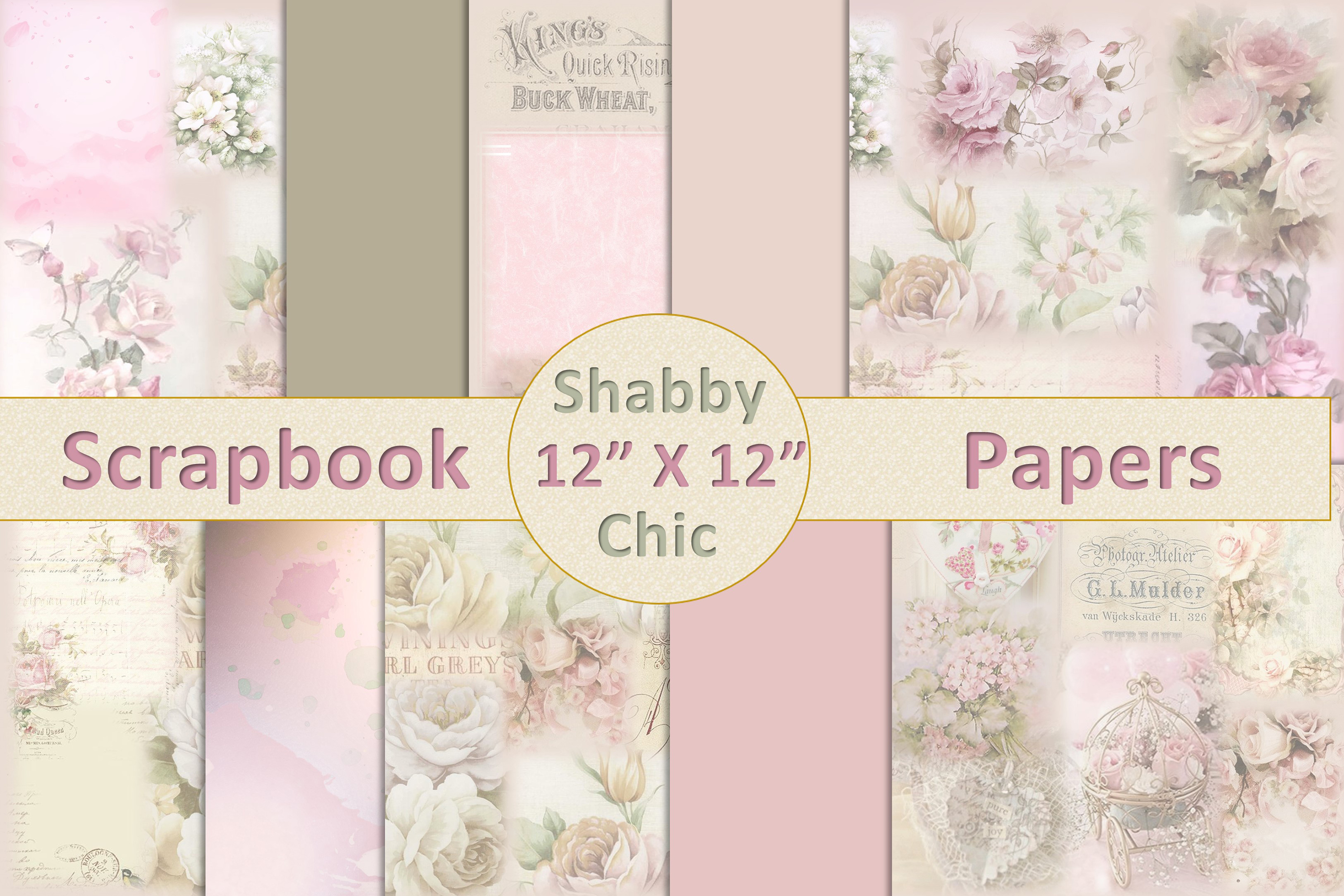 Download Free 10 Shabby Chic Scrapbook Papers Graphic By Digitalcraftsco for Cricut Explore, Silhouette and other cutting machines.