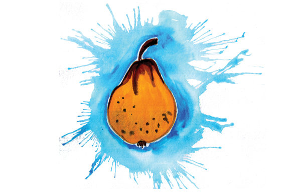 Download Free Pear In Watercolor Paint Splatter Style Svg Cut File By Creative SVG Cut Files