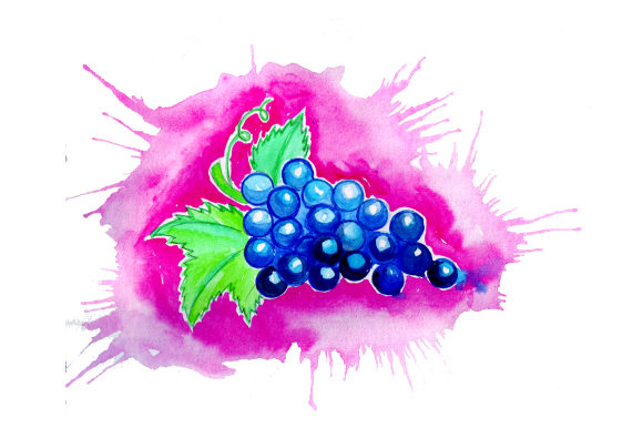 Download Free Grapes In Watercolor Paint Splatter Style Svg Cut File By for Cricut Explore, Silhouette and other cutting machines.