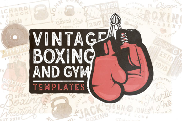 20 Vintage Boxing and Gym Badges Graphic Logos By Roman Paslavskiy