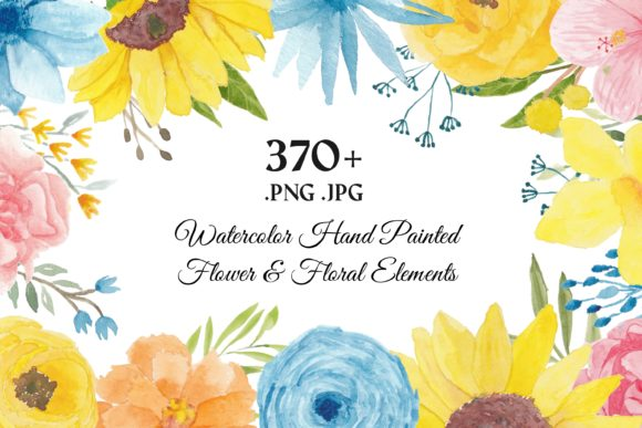 Print on Demand: 373 Flower Floral Watercolor Clip Art Graphic Illustrations By elsabenaa