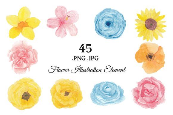 373 Flower Floral Watercolor Clip Art Graphic Illustrations By elsabenaa - Image 2