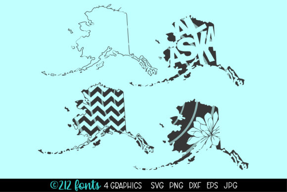 Print on Demand: Alaska State Map Graphics Graphic Illustrations By 212 Fonts