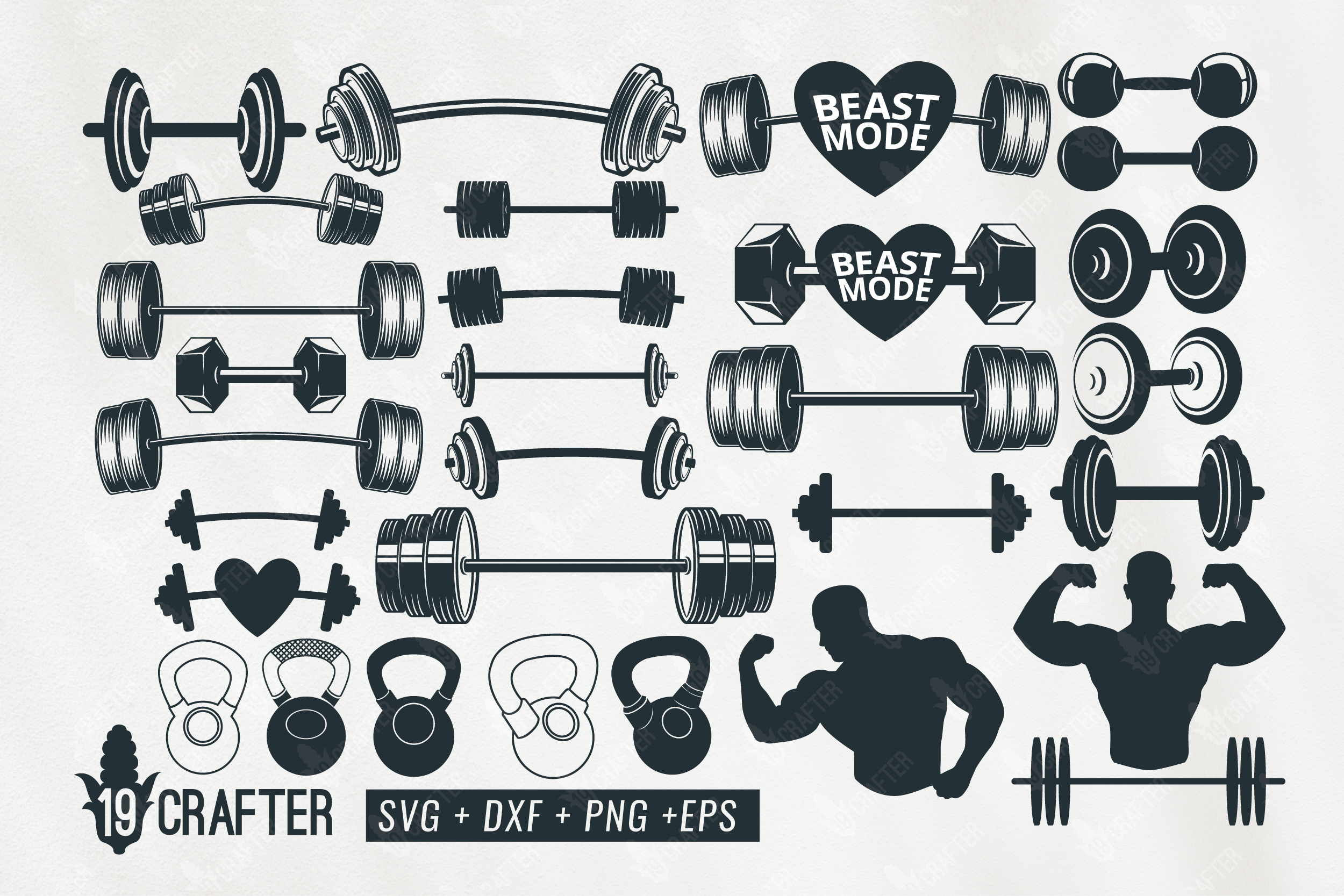 Download Free Barbell Weight Lift Set Graphic By Great19 Creative Fabrica for Cricut Explore, Silhouette and other cutting machines.