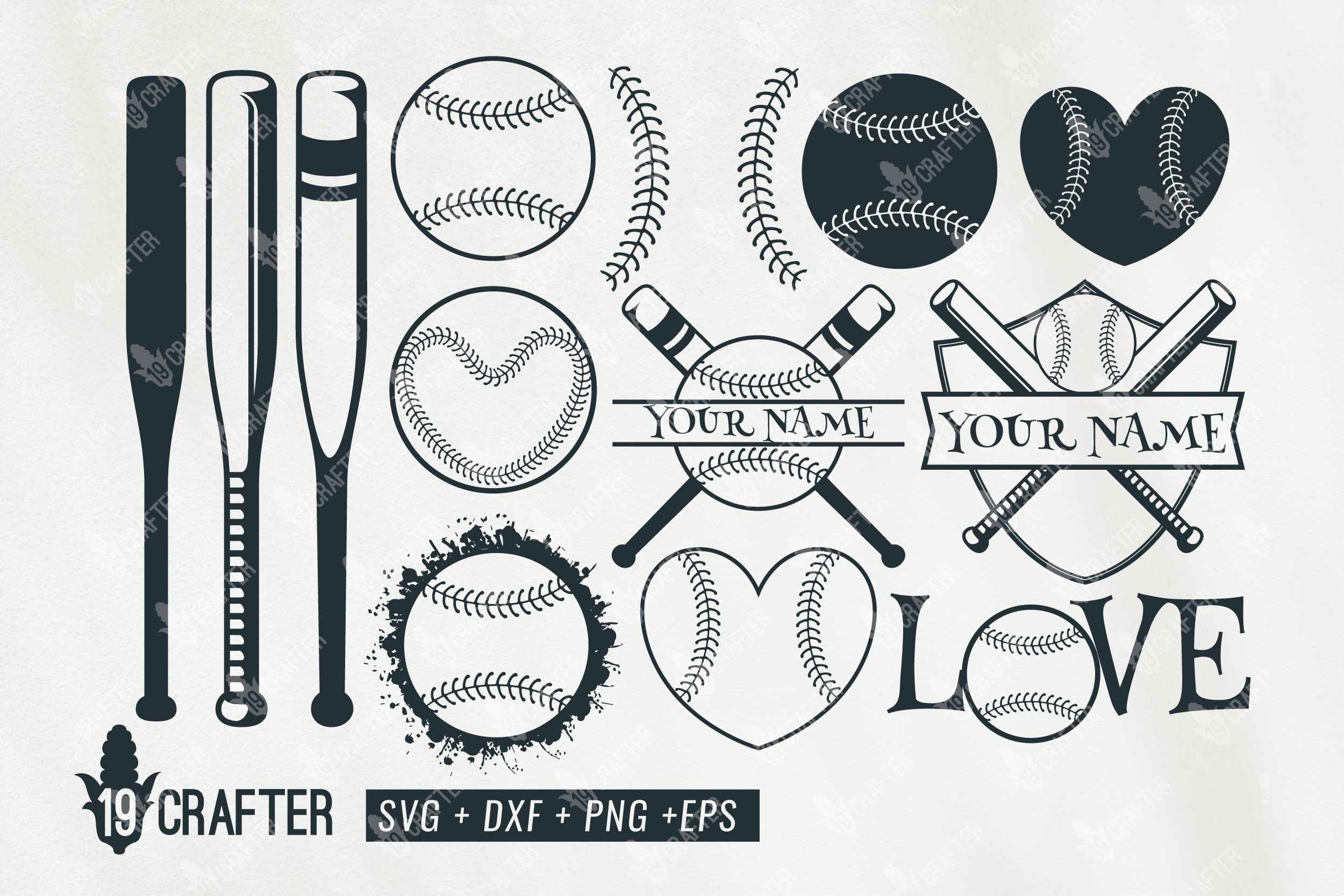 Download Free Baseball Set Badge Name Graphic By Great19 Creative Fabrica for Cricut Explore, Silhouette and other cutting machines.