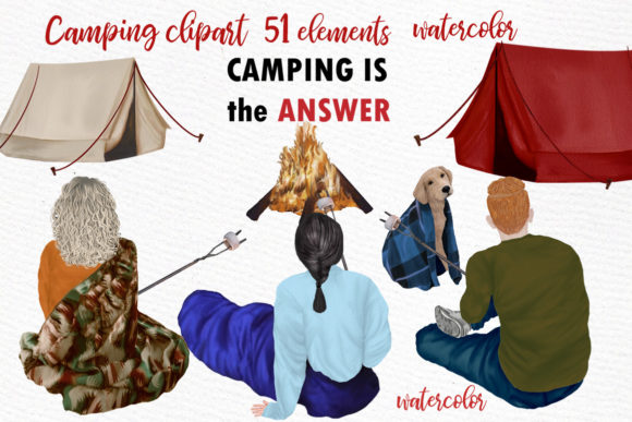 Camping Clipart Graphic Illustrations By LeCoqDesign - Image 1