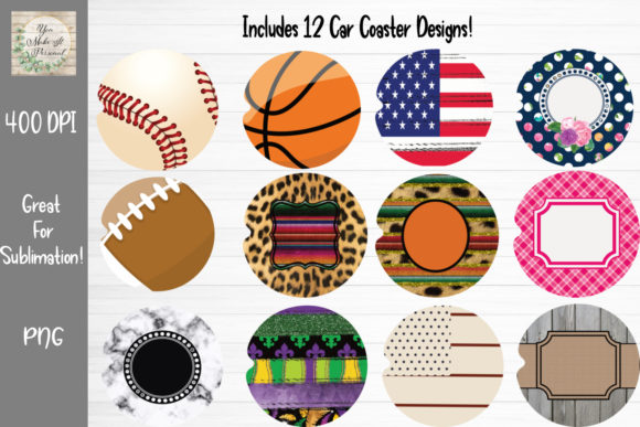 Print on Demand: Car Coaster Bundle Graphic Print Templates By You Make It Personal
