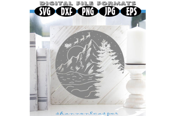Print on Demand: Christmas Mountain with Santa Graphic Illustrations By Shannon Casper