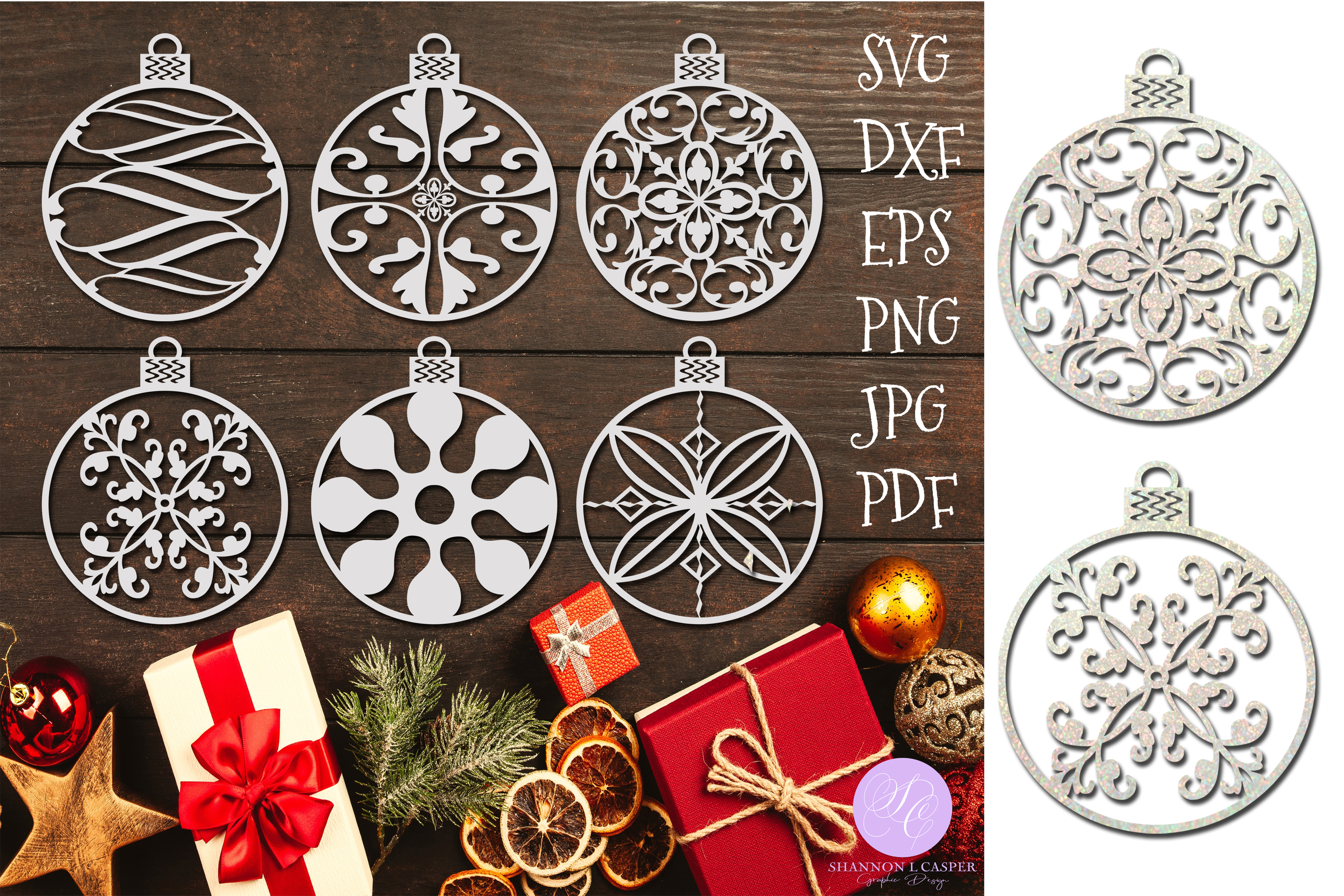 Download Free Christmas Ornament Bundle Graphic By Shannon Casper Creative for Cricut Explore, Silhouette and other cutting machines.
