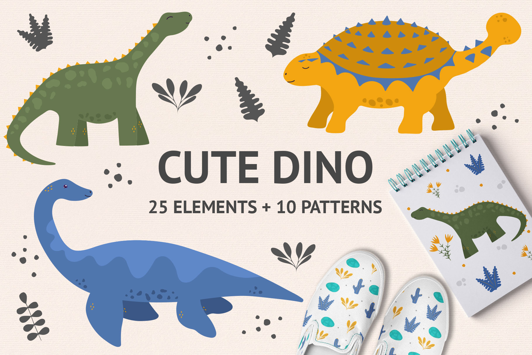 Download Free Cute Dino Illustrations Graphic By Kirill S Workshop Creative for Cricut Explore, Silhouette and other cutting machines.