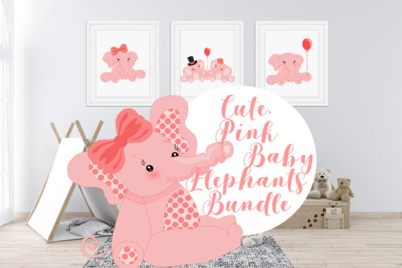 Download Free Cute Pink Baby Elephants Bundle Graphic By Sintegra Creative for Cricut Explore, Silhouette and other cutting machines.