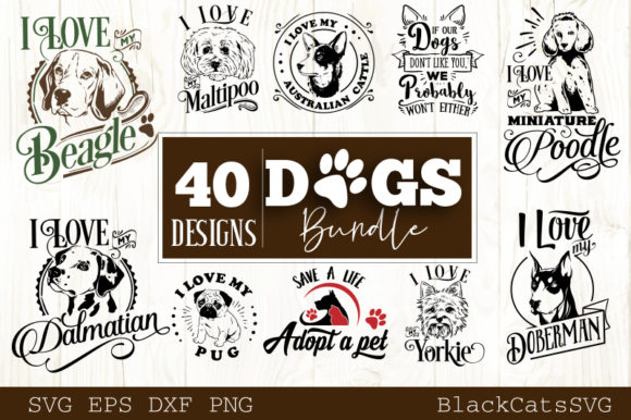 Dogs Bundle 40 Designs Graphic Crafts By BlackCatsMedia - Image 2