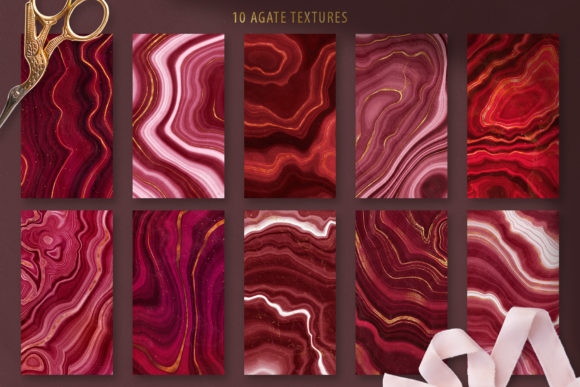 Download Free Gold Veined Red Agate Textures Graphic By Catjello Graphics for Cricut Explore, Silhouette and other cutting machines.