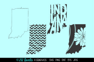 Print on Demand: Indiana State Map Graphics Graphic Illustrations By 212 Fonts