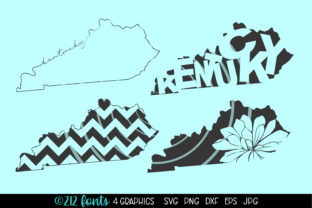 Print on Demand: Kentucky State Map Graphics Graphic Illustrations By 212 Fonts