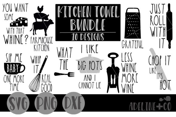 Download Free Kitchen Towel Bundle Graphic By Adelinenco Creative Fabrica for Cricut Explore, Silhouette and other cutting machines.