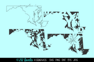 Print on Demand: Maryland State Map Graphics Graphic Illustrations By 212 Fonts