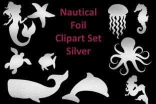 Nautical Clipart Silver Foiled Graphic Crafts By DigitalCraftsco