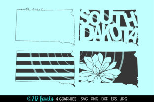 Print on Demand: South Dakota State Map Graphic Graphic Illustrations By 212 Fonts