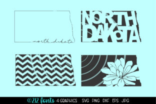 Print on Demand: North Dakota State Map Graphics Graphic Illustrations By 212 Fonts