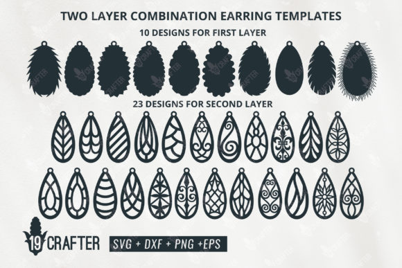 Download Free Two Layer Tear Drop Earring Template Graphic By Great19 for Cricut Explore, Silhouette and other cutting machines.