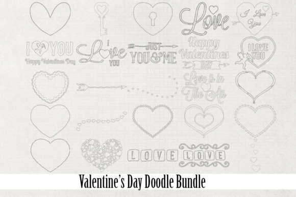 Print on Demand: Valentine's Day Doodle Bundle Graphic Illustrations By Becky W. Creations