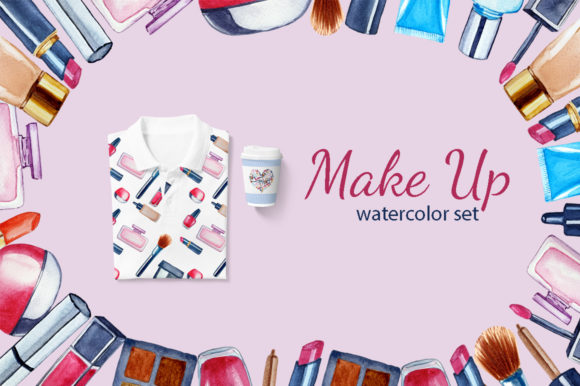 Print on Demand: Watercolor Make Up Set Graphic Illustrations By s.yanyeva
