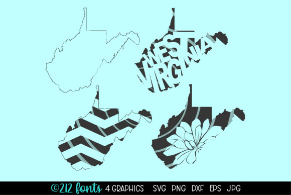 Print on Demand: West Virginia State Map Graphics Graphic Illustrations By 212 Fonts