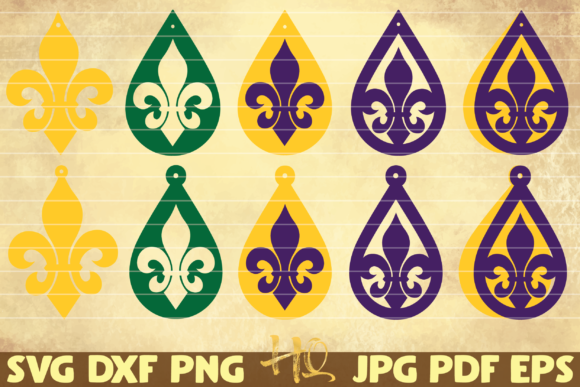 Download Free 10 Fleur De Lis Earrings Mardi Gras Graphic By Mihaibadea95 for Cricut Explore, Silhouette and other cutting machines.