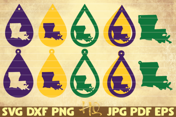 Print on Demand: 10 Louisiana State Earrings | Mardi Gras Graphic Graphic Templates By mihaibadea95