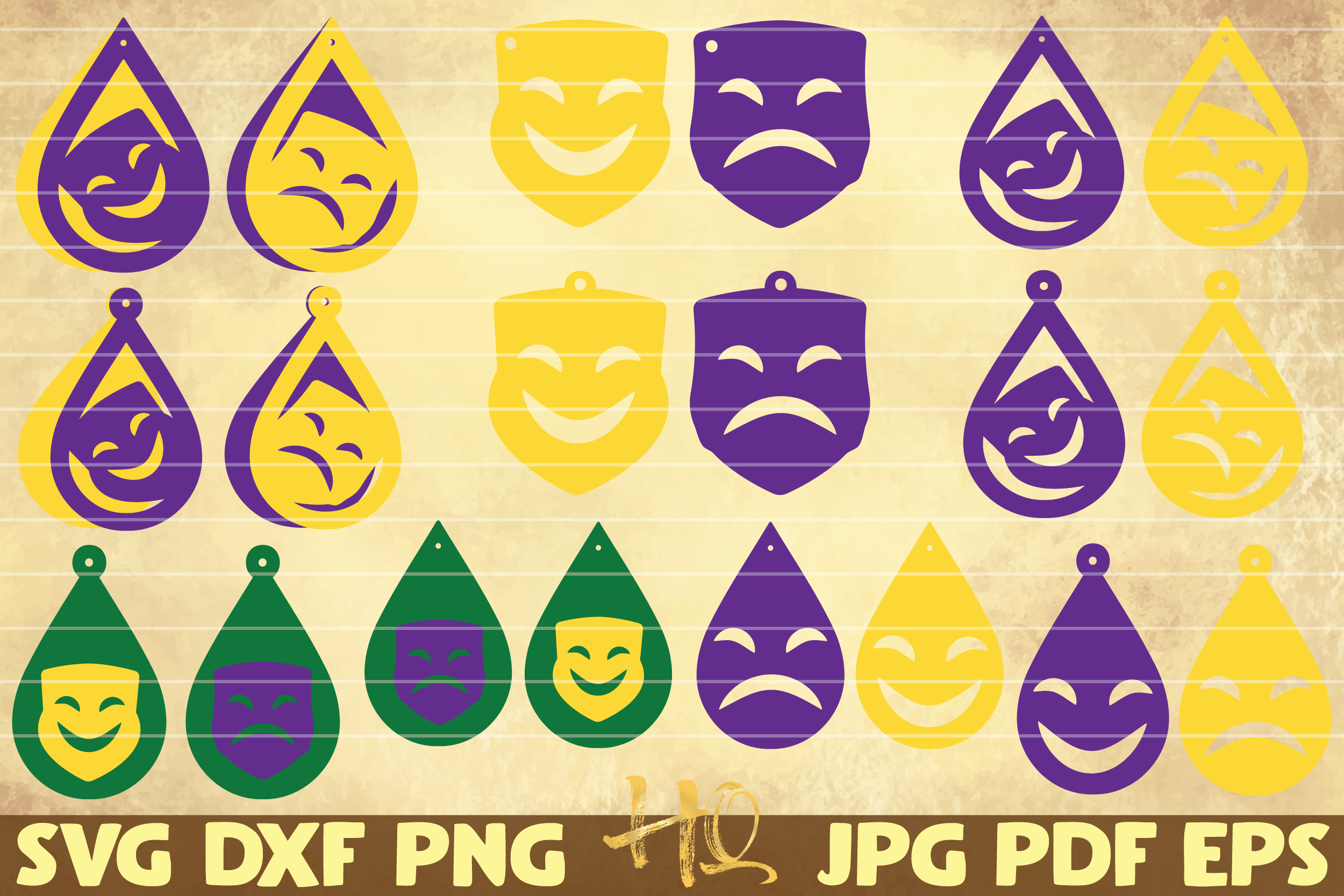Download Free 20 Theater Masks Earrings Mardi Gras Graphic By Mihaibadea95 for Cricut Explore, Silhouette and other cutting machines.