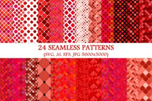 24 Seamless Red Square Patterns Graphic Patterns By davidzydd