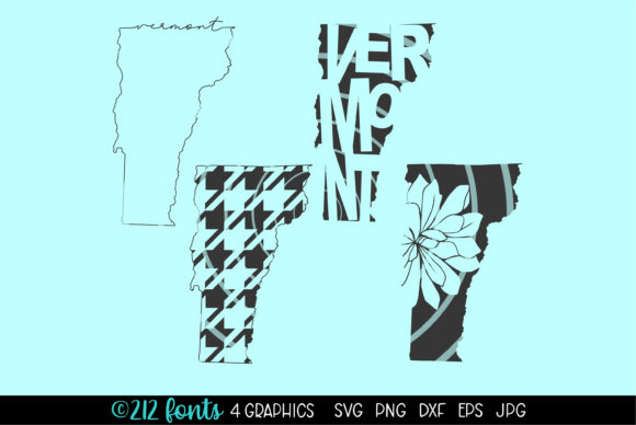 Download Free 4 Vermont State Map Graphics Graphic By 212 Fonts Creative for Cricut Explore, Silhouette and other cutting machines.