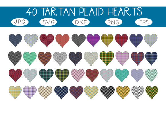 Print on Demand: 40 Tartan Plaid Hearts Graphic Illustrations By capeairforce