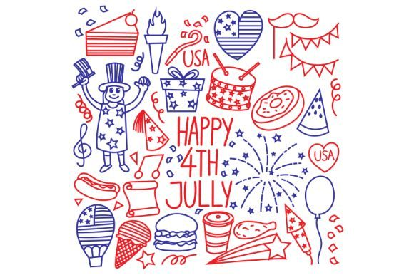 4th July Doodle Set Graphic Icons By firdausm601