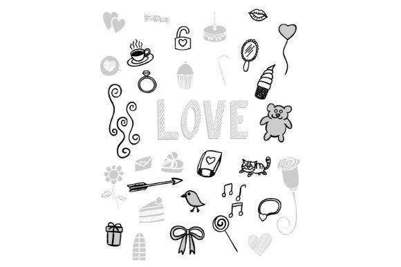 Download Free Alphabet Love Doodle Vector Art Graphic By Firdausm601 for Cricut Explore, Silhouette and other cutting machines.