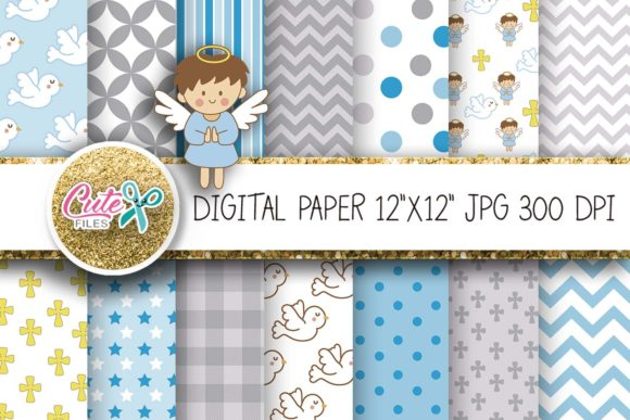 Angel Baptism Blue Digital Papers Gráfico Texturas Por Cute files