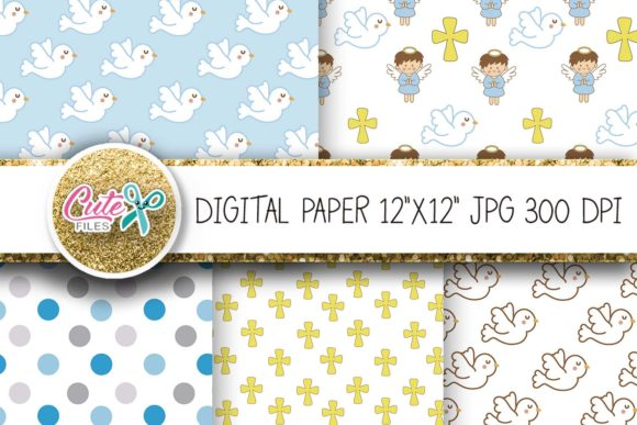 Angel Baptism Blue Digital Papers Graphic By Cute Files