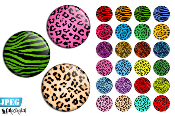 Print on Demand: Animal Print Circle Printable Images Graphic Crafts By CatgoDigital