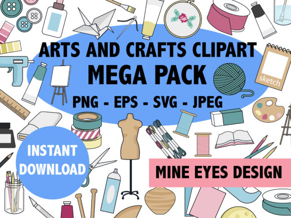 Print on Demand: Arts and Crafts Mega Pack Gráfico Iconos Por Mine Eyes Design